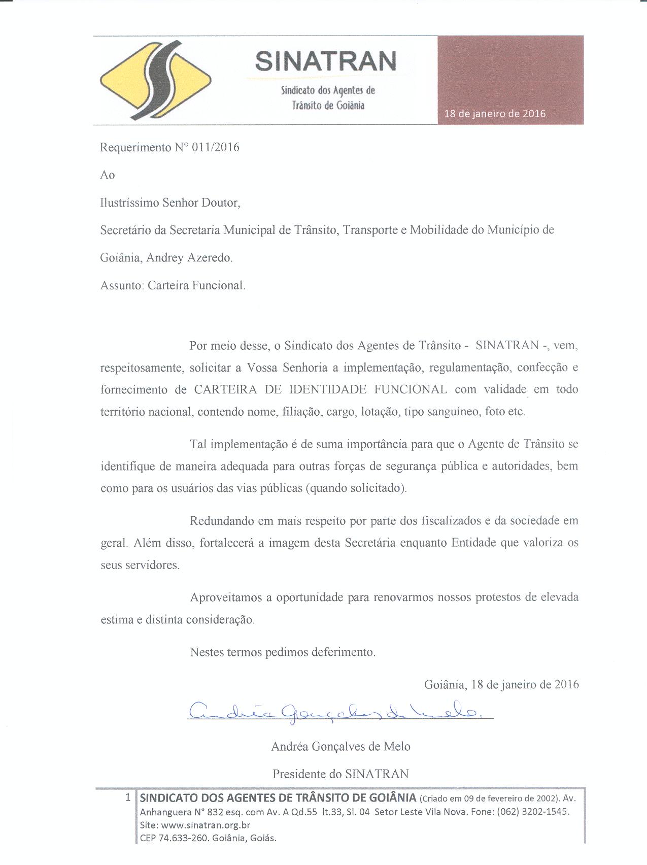 REQUERIMENTO CARTEIRA FUNICONAL